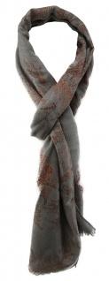 TigerTie Designer Schal in grau orangebraun gemustert mit kleinen Fransen