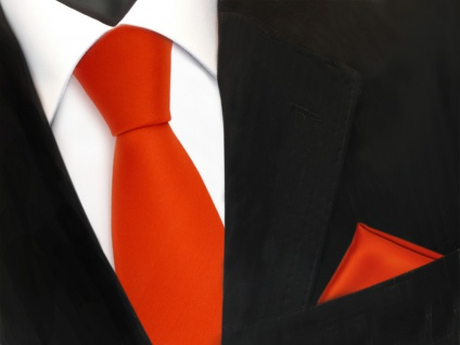 TigerTie Krawatte + Einstecktuch in orange rotorange uni - Binder Tie Polyester