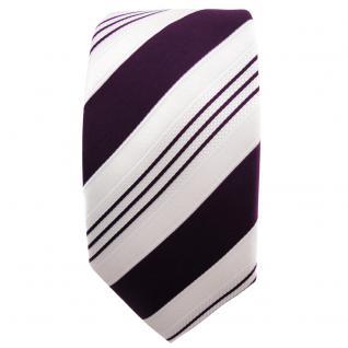 schmale TigerTie Satin Krawatte lila dunkellila weiß silber gestreift - Binder - Vorschau 2