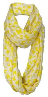 Damen Loop Schal in gelb weissgrau Motiv Schmetterlinge - Gr. 160 x 100 cm