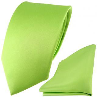 TigerTie Satin Seidenkrawatte + Seideneinstecktuch in hellgrün einfarbig Uni