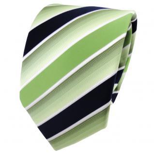 TigerTie Designer Krawatte grün hellgrün dunkelblau weiß gestreift - Binder Tie