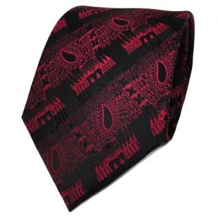 TigerTie Designer Seidenkrawatte rot bordeaux schwarz gemustert - Krawatte Seide