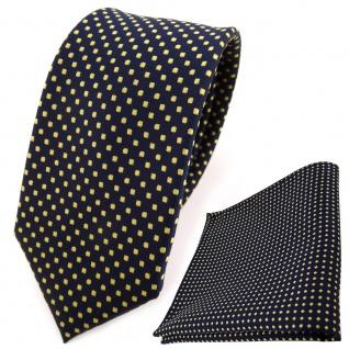 schmale TigerTie Krawatte + Einstecktuch blau dunkelblau royal gold gepunktet