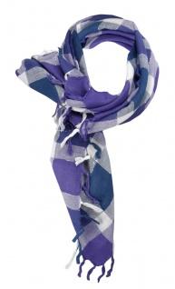 Halstuch in blau grau silber lila kariert mit Fransen - Glitzerfaden eingewebt
