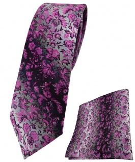 schmale TigerTie Krawatte + Einstecktuch magenta grausilber geblümt gemustert
