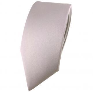 schmale TigerTie Satin Seidenkrawatte in grau silber einfarbig - Krawatte Seide
