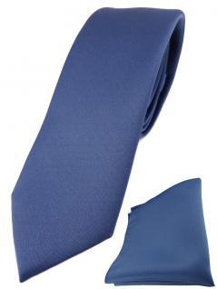 schmale TigerTie Designer Krawatte + Einstecktuch in capriblau einfarbig uni