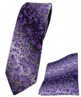 schmale TigerTie Krawatte + Einstecktuch lila grausilber geblümt gemustert