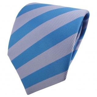 TigerTie Satin Krawatte blau türkisblau hellblau babyblau gestreift - Binder Tie