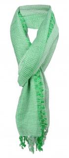 Schal in grün grau kariert mit kleinen Fransen - Gr. 180 x 50 cm