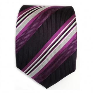 Designer Seidenkrawatte lila violett silber weiss schwarz gestreift - Krawatte - Vorschau 2
