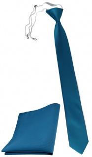 TigerTie Sicherheits Krawatte + Einstecktuch in türkis türkisblau einfarbig Rips