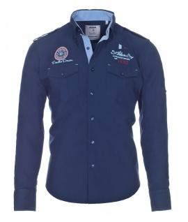 Pontto Designer Hemd Shirt in blau marine einfarbig langarm Modern-Fit Gr. S