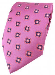 Satin Seidenkrawatte pink rosé lila graublau Blumenmuster - Krawatte Seide Tie