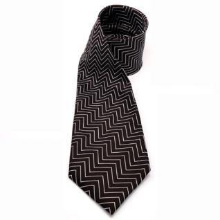 Mexx Seidenkawatte braun dunkelbraun silber gezacktes Muster - Krawatte Seide