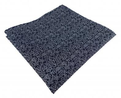 TigerTie Designer Einstecktuch in silber grau schwarz florales Muster