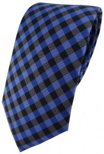 Modische TigerTie Designer Krawatte in royal marine blau anthrazit kariert