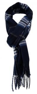 Feiner TigerTie Designer Schal in marine blau weiss grau kariert - Cashmink