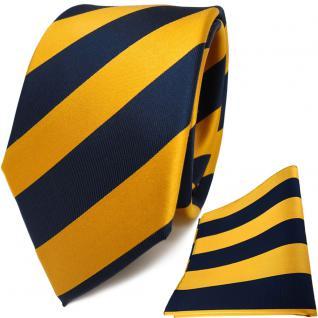 TigerTie Seidenkrawatte + Seideneinstecktuch gelb gold gelbgold royal gestreift