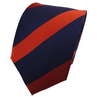 TigerTie Seidenkrawatte orange dunkelorange blau dunkelblau gestreift - Krawatte