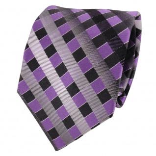 TigerTie Seidenkrawatte lila grau silber anthrazit kariert - Krawatte Seide Silk