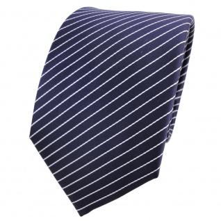 TigerTie Designer Krawatte blau dunkelblau weiß silber gestreift - Schlips Tie