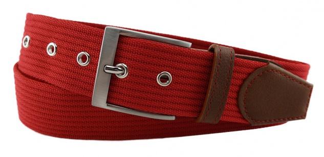 TigerTie - Stoffgürtel in rot verkehrsrot einfarbig - Bundweite 120 cm