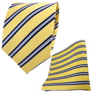 TigerTie Seidenkrawatte + Seideneinstecktuch gelb blau schwarz weiß gestreift