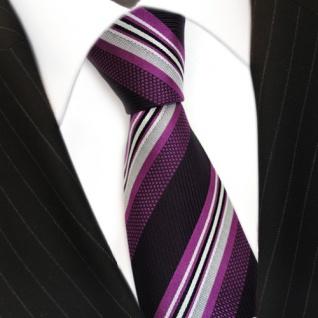 Designer Seidenkrawatte lila violett silber weiss schwarz gestreift - Krawatte - Vorschau 3