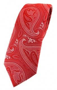 TigerTie - schmale Designer Krawatte in rot silber Paisley gemustert