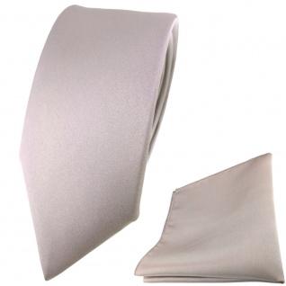 schmale TigerTie Satin Seidenkrawatte + Seideneinstecktuch grau silber einfarbig