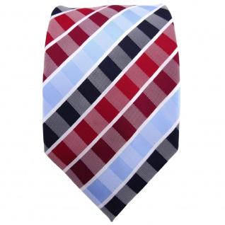TigerTie Krawatte rot rubinrot blau hellblau weiß gestreift - Binder Tie - Vorschau 2