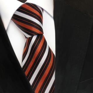 Designer Seidenkrawatte braun kupfer silber schwarz gestreift - Krawatte Seide