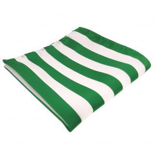 schönes Einstecktuch in grün leuchtgrün weiß gestreift - Tuch 100% Polyester