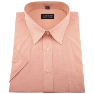 TRAVELMASTER Business Herrenhemd lachs - Hemd Gr.45/46 XXL kurzarm