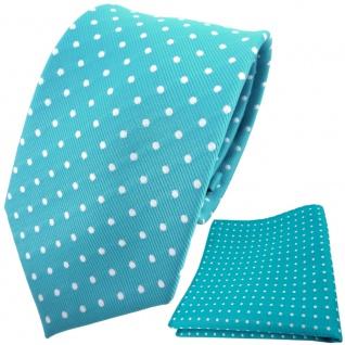 TigerTie Designer Krawatte + Einstecktuch türkis türkisblau silber gepunktet