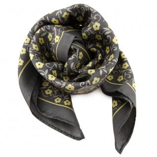 Damen Nickituch in Seide anthrazit gelb beige 53 x 53 - Tuch Halstuch Schal
