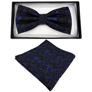 TigerTie Fliege + Einstecktuch blau anthrazit schwarz gemustert Ornamente