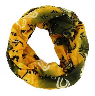 TigerTie Multifunktionstuch gelb schwarz weiss Paisley - Tuch Schal Schlauchtuch