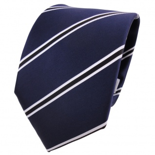 TigerTie Krawatte blau dunkelblau schwarz weiß gestreift - Schlips Binder