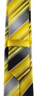 schmale TigerTie Designer Krawatte in gelb gold silber anthrazit grau gestreift - Vorschau 3