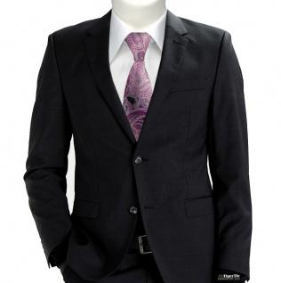 TigerTie Designer Seidenkrawatte in lila magenta grau silber Paisley gemustert - Vorschau 2