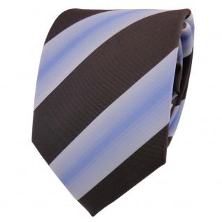 Designer Krawatte braun dunkelbraun blau blassblau gestreift - Schlips Binder