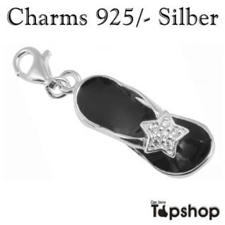 Charms 925/-, Echt Silber, Sandalen in schwarz