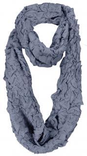 Damen Loop Schal in blau im Knitterlook - Größe 180 x 40 cm - Rundschal