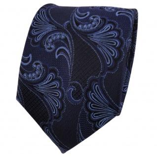 TigerTie Seidenkrawatte blau dunkelblau royal schwarz gemustert - Krawatte Seide