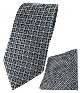 TigerTie Krawatte + Einstecktuch in anthrazit silber schwarz gemustert