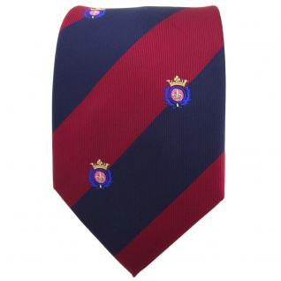TigerTie Krawatte in rot weinrot dunkelblau gestreift mit Wappen - Tie Binder - Vorschau 2