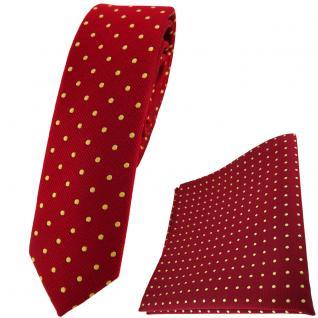 schmale TigerTie Krawatte + Einstecktuch in rot gold gepunktet